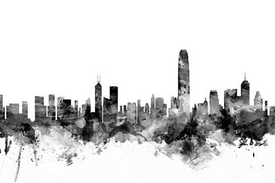 Hong Kong Skyline Poster by Michael Tompsett