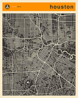 Houston Map Poster by Jazzberry Blue