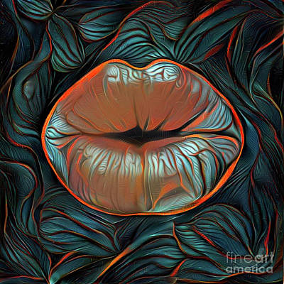 Kissing Lips Poster by Amy Cicconi