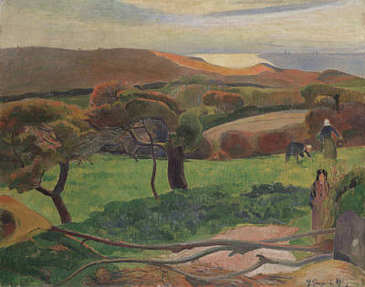Landscape From Bretagne Poster by Paul Gauguin