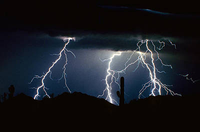 4 Lightning Bolts Fine Art Photography Print Poster