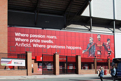 Liverpool Uk, 17th September 2016. Liverpool Football Club's New Giant Mural For The 2016/17 Season At The Kop End Of The Stadium Poster by Ken Biggs