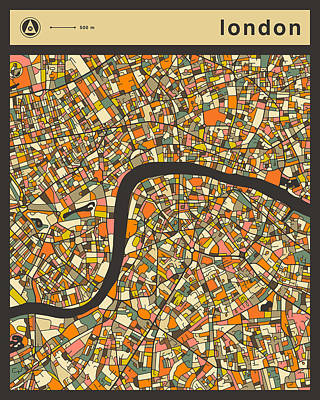 London City Map Poster by Jazzberry Blue
