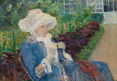 Lydia Crocheting In The Garden At Marly Poster
