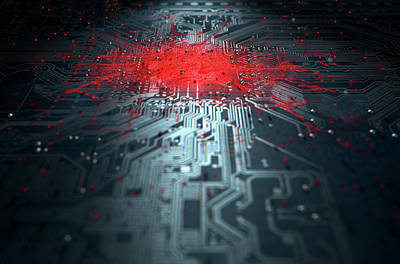Macro Circuit Board Infection Poster by Allan Swart