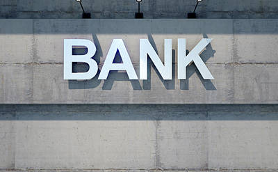 Modern Bank Building Signage Poster by Allan Swart