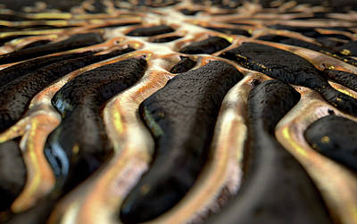 Molten Gold Seeping Out Of Rock Poster