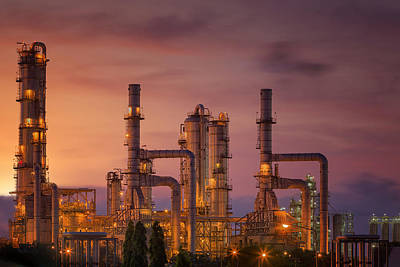 Oil Refinery At Twilight Sky Poster