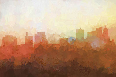 Poster featuring the digital art Parsippany New Jersey Skyline by Marlene Watson