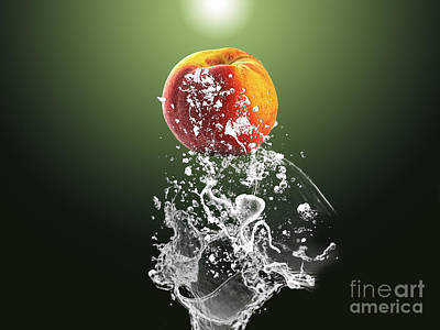 Peach Splash Poster by Marvin Blaine
