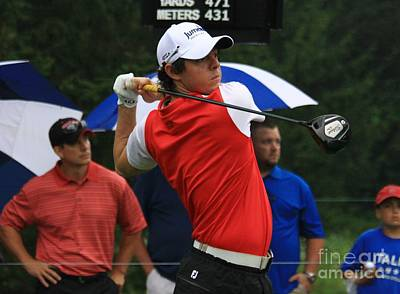 Pga Golfer Rory Mcelroy Watches His Drive Poster