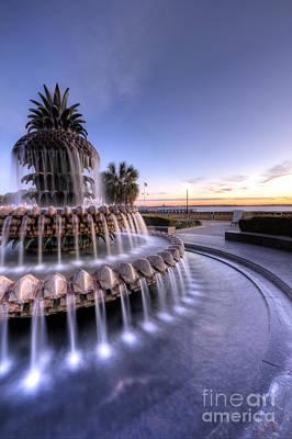 Pineapple Fountain Charleston Sc Sunrise Poster