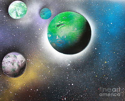 Poster featuring the painting 4 Planets by Greg Moores