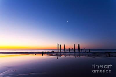 Port Willunga Jetty Ruins Sunset Poster by Bill  Robinson