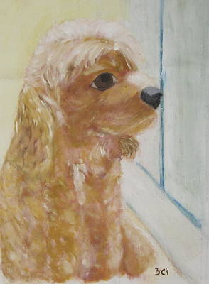 Poster featuring the painting Rusty Aka Digger Dog by Patricia Cleasby