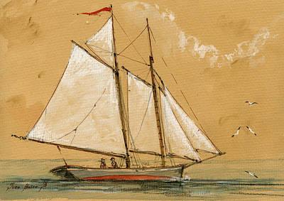 Sail Ship Watercolor Poster by Juan  Bosco