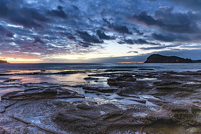 Seascape Cloudy Nightscape Poster