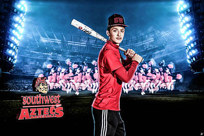 Poster featuring the digital art Southwest Aztecs Baseball Organization by Nicholas Grunas