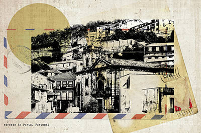 Poster featuring the digital art stylish retro postcard of Porto  by Ariadna De Raadt