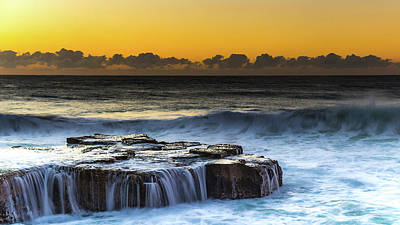 Sunrise Seascape With Cascades Over The Rock Ledge Poster
