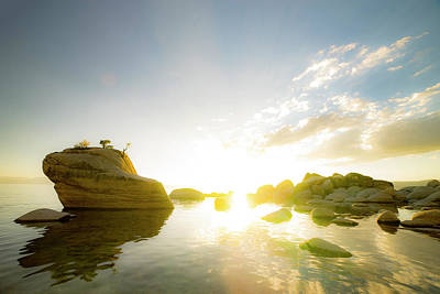 Sunset At Bonsai Rock Poster by Peter Irwindale