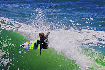 Surfing In Santa Cruz Poster by Gary Dance