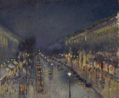 The Boulevard Montmartre At Night Poster by Camille Pissarro