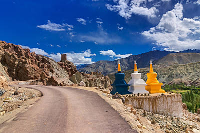 Three Buddhist Stupas At Leh Ladakh Jammu And Kashmir India Poster by Rudra Narayan  Mitra