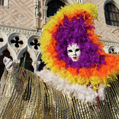 Venice Carnival - Masks And Costumes Poster by Asgeir Pedersen