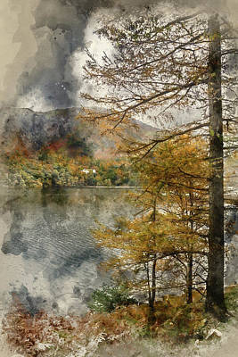 Watercolour Painting Of Lake Buttermere In Autumn Fall In Lake D Poster by Matthew Gibson