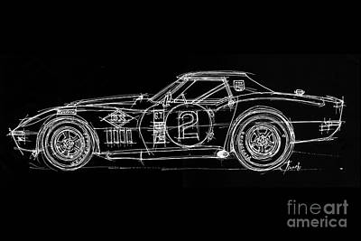 White Line Black Background Classic Car Original Handmade Drawing Poster