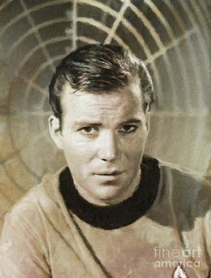 William Shatner Star Trek's Captain Kirk Poster by Mary Bassett