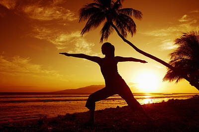 Yoga At Sunset Poster by Ron Dahlquist - Printscapes