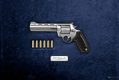 .44 Magnum Colt Anaconda With Ammo On Blue Velvet  Poster by Serge Averbukh