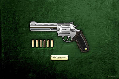 .44 Magnum Colt Anaconda With Ammo On Green Velvet  Poster by Serge Averbukh