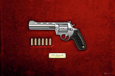 .44 Magnum Colt Anaconda With Ammo On Red Velvet  Poster by Serge Averbukh