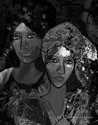 Poster featuring the digital art 452 - Secrets Of Friendship by Irmgard Schoendorf Welch