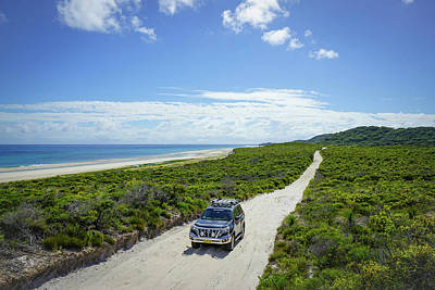 4wd Car Exploring Remote Track On Sand Island Poster