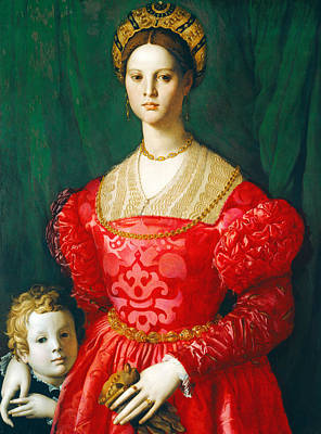 A Young Woman And Her Little Boy Poster by Agnolo Bronzino
