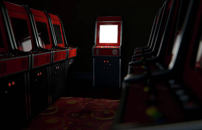 Arcade Aisle With One Illuminated  Poster by Allan Swart