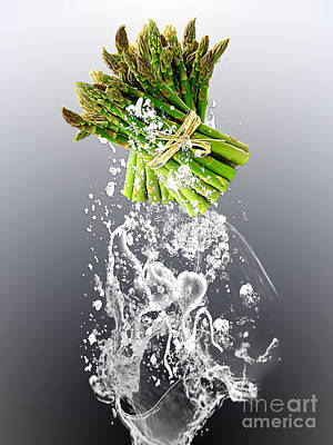 Asparagus Splash Poster by Marvin Blaine