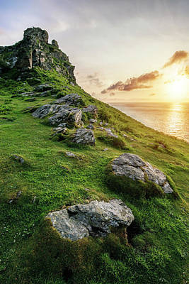 Beautiful Evening Sunset Landscape Image Of Valley Of The Rocks  Poster