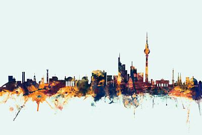 Berlin Germany Skyline Poster by Michael Tompsett