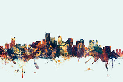 Boston Massachusetts Skyline Poster by Michael Tompsett