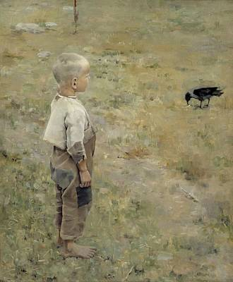 Boy With A Crow Poster by Akseli Gallen-kallela