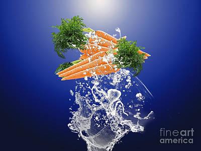 Carrot Splash Poster by Marvin Blaine