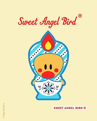 Cute Art - Blue And White Snowflake Folk Art Sweet Angel Bird In A Matryoshka Doll Costume Wall Art Print Poster