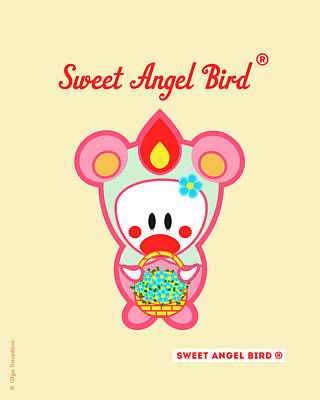 Cute Art - Sweet Angel Bird In A Pink And Mint Bear Costume Holding A Basket Of Blue Flowers Wall Art Print Poster