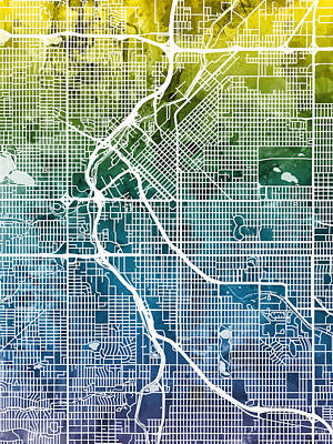 Denver Colorado Street Map Poster by Michael Tompsett