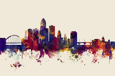 Des Moines Iowa Skyline Poster by Michael Tompsett
